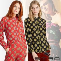ETRO Paisley Casual Style Silk Long Sleeves Medium Party Style