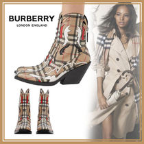 Burberry Tartan Other Check Patterns Square Toe Casual Style