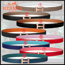 HERMES CONSTANCE Plain Leather Elegant Style Logo Belts