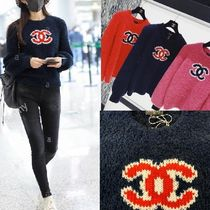 CHANEL Cashmere Blended Fabrics Long Sleeves Cashmere