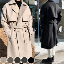 Wool Blended Fabrics Street Style Plain Long Trench Coats