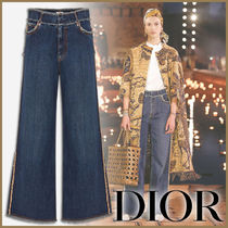 Christian Dior Denim Street Style Plain Long Wide & Flared Jeans