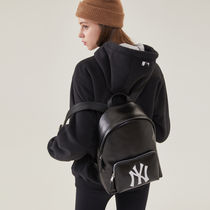 MLB Korea Casual Style Blended Fabrics Street Style Leather Backpacks