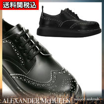 alexander mcqueen Platform Rubber Sole Lace-up Casual Style Plain Leather
