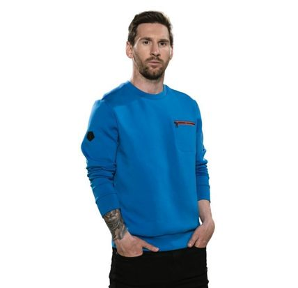 Crew Neck Unisex Long Sleeves Plain Cotton Logo Sweatshirts