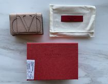 VALENTINO Calfskin Logo Folding Wallets