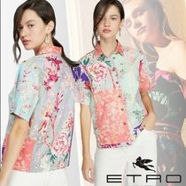 ETRO Flower Patterns Casual Style Cotton Medium Short Sleeves