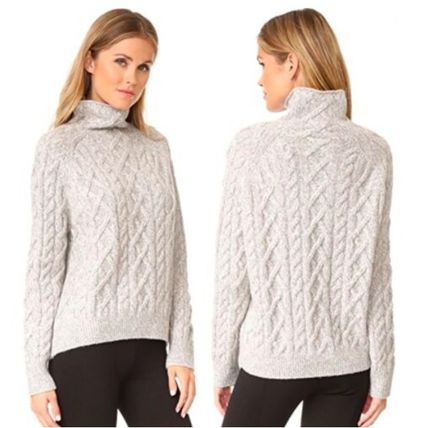 Cable Knit Casual Style Wool Cashmere Nylon Long Sleeves