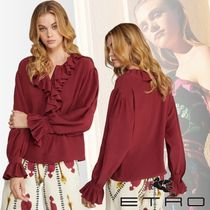 ETRO Casual Style Silk Long Sleeves Plain Medium Party Style