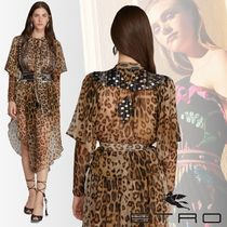 ETRO Leopard Patterns Casual Style Chiffon Silk Long Sleeves