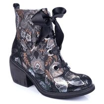 Irregular Choice Round Toe Lace-up Casual Style Chunky Heels Boots Boots