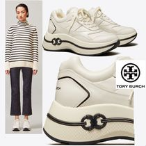 Tory Burch Platform Rubber Sole Casual Style Street Style Plain Leather