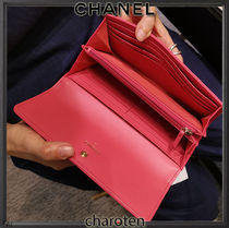 CHANEL ICON Lambskin Chain Plain Leather Folding Wallet Long Wallets