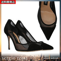 Sergio Rossi Suede Blended Fabrics Plain Leather Pin Heels Party Style