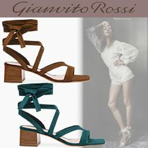 Gianvito Rossi Open Toe Square Toe Lace-up Casual Style Suede