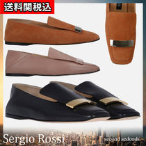 Sergio Rossi Square Toe Suede Leather Slippers Slip-On Shoes