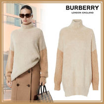 Burberry Casual Style Wool Cashmere Blended Fabrics Bi-color Plain