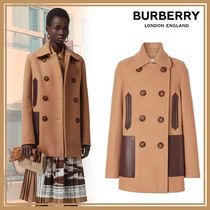 Burberry Casual Style Wool Blended Fabrics Plain Leather Peacoats
