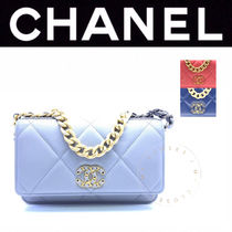 CHANEL CHAIN WALLET Casual Style Street Style Chain Plain Leather Handmade