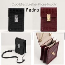 Pedro Casual Style Calfskin 2WAY Chain Shoulder Bags
