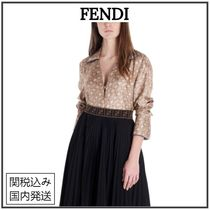 FENDI KARLIGRAPHY Monogram Casual Style Silk Long Sleeves Party Style