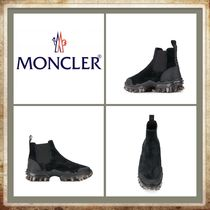 MONCLER Round Toe Rubber Sole Casual Style Spawn Skin Plain Leather