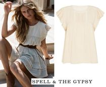 SPELL Casual Style Plain Cotton Short Sleeves Shirts & Blouses