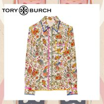 Tory Burch Silk Long Sleeves Other Animal Patterns Medium Party Style