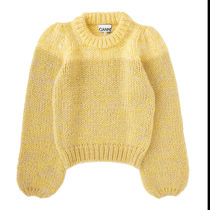Ganni Cable Knit Casual Style Wool U-Neck Long Sleeves Plain