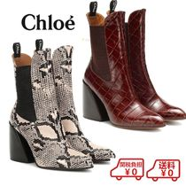 Chloe Casual Style Other Animal Patterns Block Heels Python
