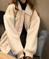 Short Casual Style Wool Faux Fur Plain Varsity Jackets