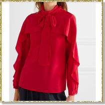 RED VALENTINO Silk Plain Medium Elegant Style Puff Sleeves