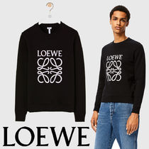 LOEWE Crew Neck Pullovers Long Sleeves Cotton Sweatshirts
