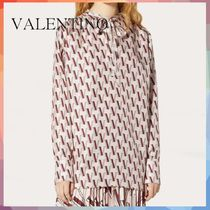 VALENTINO Casual Style Silk Long Sleeves Medium Elegant Style