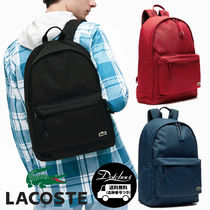 LACOSTE Casual Style Unisex A4 Plain Backpacks