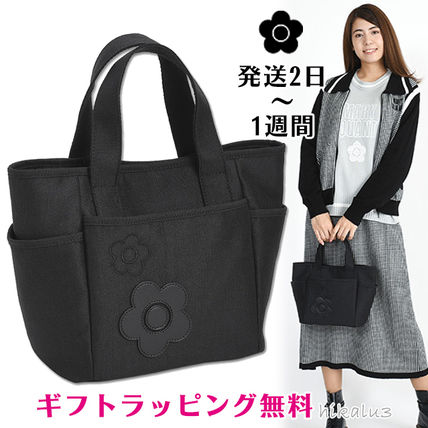 Flower Patterns Casual Style Plain Office Style Logo Totes