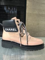 CHANEL Blended Fabrics Plain Block Heels Logo Ankle & Booties Boots