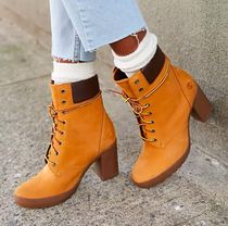 Timberland Casual Style Unisex Plain Block Heels Ankle & Booties Boots