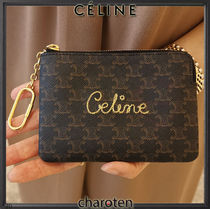 CELINE Triomphe Canvas Monogram Unisex Canvas Chain Long Wallet  Logo Coin Cases