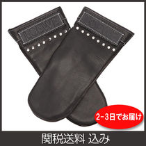 LOEWE Studded Plain Leather Logo Leather & Faux Leather Gloves