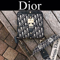 Christian Dior DIOR OBLIQUE Monogram Casual Style Canvas Blended Fabrics Studded