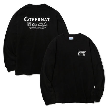 Unisex Street Style Collaboration Long Sleeves Plain Cotton
