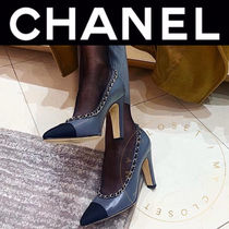 CHANEL Plain Toe Casual Style Blended Fabrics Street Style Chain