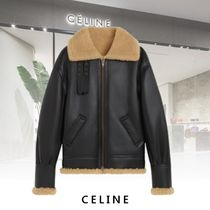 CELINE Plain Leather Shearling Biker Jackets