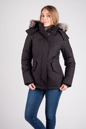 Short Nylon Faux Fur Down Jackets