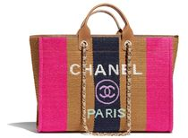 CHANEL DEAUVILLE Stripes Unisex Calfskin Street Style A4 2WAY Chain Logo