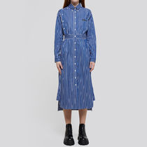 PRADA Stripes Long Sleeves Cotton Long Logo Shirts & Blouses