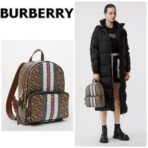 Burberry Stripes Casual Style Elegant Style Backpacks