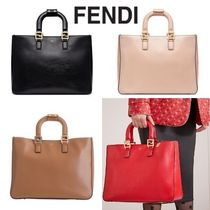 FENDI Calfskin A4 Plain Leather Office Style Elegant Style Totes