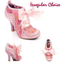 Irregular Choice Round Toe Lace-up Casual Style Pin Heels Party Style